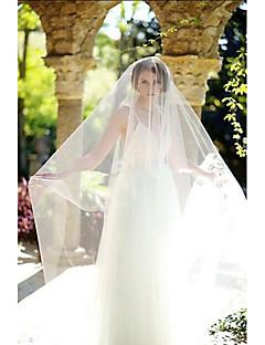 Véus de Noiva Uma Camada Véu Ruge Véu Catedral Corte da borda Tule