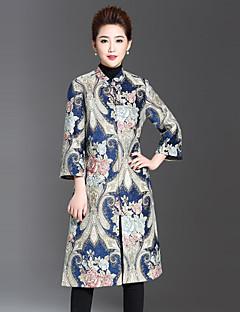 Feminino Casaco Casual / Tamanhos Grandes Temática Asiática Inverno,Jacquard Azul Poliéster Colarinho Chinês-Manga Longa