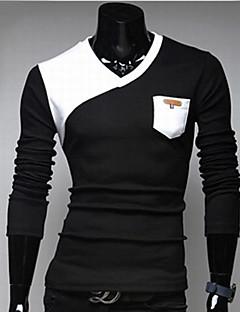 Men's Patchwork Black/White T-shirt,Casual V Neck Long Sleeve Pocket