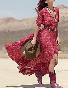 קיץ פוליאסטר שרוול 4\3 מקסי V עמוק פרחוני בוהו חגים שמלה שיפון סווינג נשים,גיזרה בינונית (אמצע) סטרצ'י (נמתח) דק