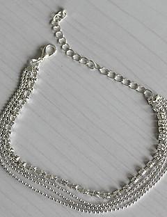נשים תכשיט לקרסול/צמידים מצופה כסף יהלום מדומה אופנתי ארופאי שכבות מרובות תכשיטים תכשיטים עבור יומי קזו'אל