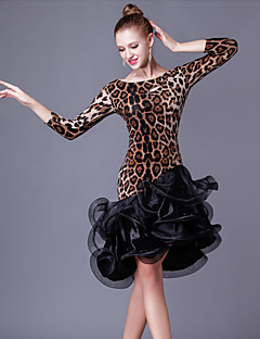 Latinské tance Šaty Dámské Výkon Průzračná bavlna / Organza Volánky / Barevně dělené Jeden díl 3 / 4 rukávy Vysoký ŠatyS-XXL: The