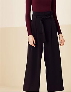 Feminino Perna larga Chinos Calças-Cor Única Casual Simples Cintura Alta Elasticidade Algodão Micro-Elástico Com Molas / Verão