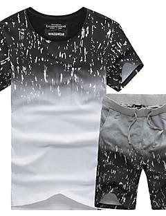 Homens Conjunto de Shorts e Camiseta de Corrida Manga Curta Respirável Macio Confortável Redutor de Suor Moletom Shorts Camiseta
