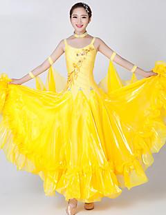 Standardní tance Šaty Dámské Výkon elastan Tyl Křišťály / Bižuterie Barevně dělené 2 kusy Bez rukávů Šaty Neckwear