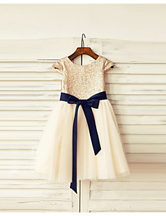 a-line polvipituus kukka tyttö mekko - tulle paljeteilla lyhythihainen hihat kauha kaulan kanssa paljetteja thstylee