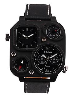 Pánské Sportovní hodinky Vojenské hodinky Módní hodinky Náramkové hodinky Křemenný Hodinky s dvojitým časem Pravá kůže KapelaRetro Běžné