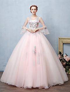 Plesové šaty Princess Illusion Neckline Na zem Krajka Tyl Formální večer Šaty s Korálky Krajka podle FALILU