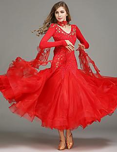 Standardní tance Vrchní část oděvu Šaty Dámské Trénink Spandex Tyl Flitry Jeden díl Bez rukávů Přírodní