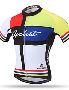 XINTOWN Maillot de Cyclisme Homme Manches Courtes Vélo Maillot Hauts/Tops Séchage rapide Respirable Poche arrière Anti-transpiration