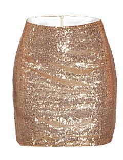 Röcke,Bodycon einfarbig Pailletten,Party/Cocktail Sexy Mittlere Hüfthöhe Mini Reisverschluss Polyester Micro-elastisch Sommer