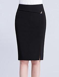 Übergrössen Röcke,Bodycon einfarbig Geschlitzt Pailletten,Lässig/Alltäglich Arbeit Sexy Einfach Niedlich Hohe Hüfthöhe Knielänge