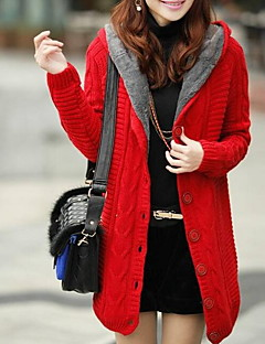 Damer Simpel Afslappet/Hverdag Normal Cardigan Ensfarvet,Hætte Langærmet Bomuld Forår Tyk Mikroelastisk