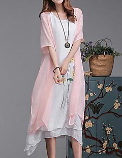 여성 루즈핏 드레스 캐쥬얼/데일리 플러스 사이즈 심플 플로럴,라운드 넥 미디 짧은 소매 핑크 그레이 그린 면 린넨 여름 중간 밑위 신축성 없음 중간