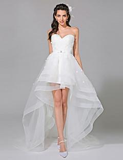 גזרת A לב (סוויטהארט) א-סימטרי תחרה טול שמלת חתונה עם חרוזים אפליקציות סרט פפיון על ידי LAN TING BRIDE®