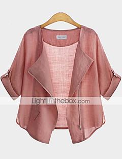 Damen Solide Einfach Lässig/Alltäglich Übergröße Bluse,V-Ausschnitt Sommer Baumwolle Lichtdurchlässig