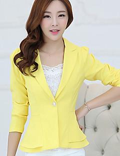 Damen Solide Einfach Lässig/Alltäglich Anzug,Hemdkragen Frühling Herbst ¾-Arm Standard Polyester