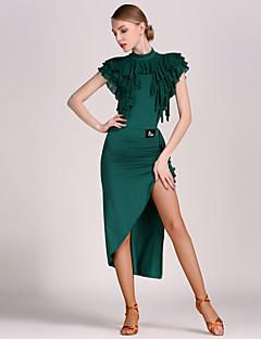 ריקוד לטיני תלבושות בגדי ריקוד נשים ביצועים טול ויסקוזה קפלים 2 חלקים טבעי בגד גוף חצאית