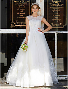 Ball Gown Jewel Neck Floor Length Tulle Wedding Dress with Beading Appliques by HUA XI REN JIAO