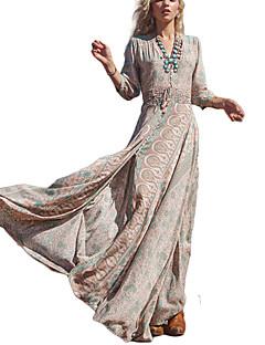 קיץ פוליאסטר שרוול ארוך מקסי צווארון V דפוס וינטאג' סגנון רחוב חוף חג שמלה נדן סווינג נשים,גיזרה גבוהה מיקרו-אלסטי דק