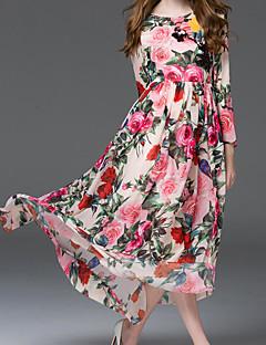אביב משי פוליאסטר שרוול ארוך מקסי צווארון עגול פרחוני ליציאה שמלה סווינג נשים,גיזרה גבוהה קשיח דק
