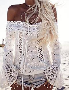 Tee-shirt Femme,Couleur Pleine Décontracté / Quotidien simple Eté Manches Longues Bateau Coton Moyen