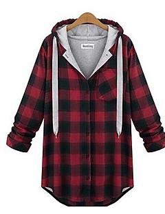 Women's Plus Size Casual/Daily Cute All Seasons T-shirt,Print V Neck Long Sleeve Cotton Medium