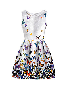 Women's Beach Holiday Casual/Daily Vintage A Line Dress,Floral Round Neck Knee-length Sleeveless Cotton Polyester Summer High Rise
