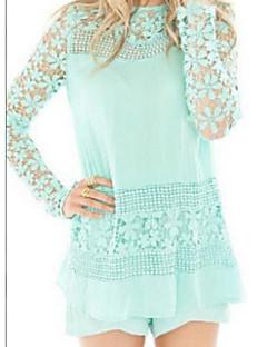 Damen Solide Einfach Lässig/Alltäglich Hemd,Rundhalsausschnitt Langarm Polyester