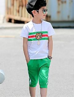 Jungen Sets Streifen Sport Einfarbig Sommer Kurzarm Kleidungs Set