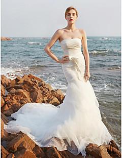 Sereia Sem Alças Cauda Corte Organza Vestido de casamento com Faixa / Fita Laço Pregas em Cascata Franzido Drapeado Lateral de LAN TING