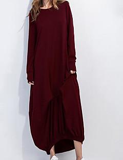 קיץ כותנה שרוול ארוך מקסי צווארון עגול אחיד פשוטה יום יומי\קז'ואל שמלה משוחרר נשים,גיזרה בינונית (אמצע) קשיח דק