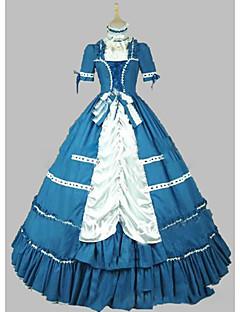 Uma-Peça/Vestidos Gótica Lolita Cosplay Vestidos Lolita Azul Vintage Manga Curta Short / Mini Vestido Para Outro
