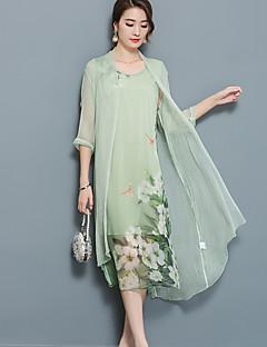 여성 투피스 드레스 데이트 플러스 사이즈 스트리트 쉬크 플로럴,피터팬 카라 미디 ½ 길이 소매 폴리에스테르 나일론 여름 가을 중간 밑위 약간의 신축성 중간