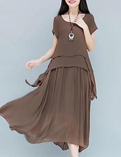 Damen Swing Kleid-Party Arbeit Retro Anspruchsvoll Solide Rundhalsausschnitt Midi Kurzarm Baumwolle Kunstseide Alle Saisons Hohe Hüfthöhe