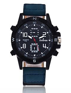 Pánské Sportovní hodinky Křemenný Velký ciferník Kůže Kapela Cool Černá Modrá Hnědá Zelená Fialová Khaki