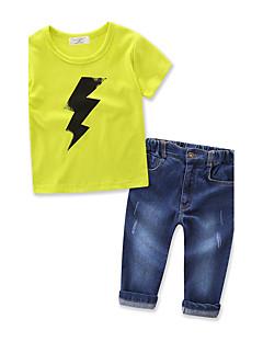 Jungen Sets Einheitliche Farbe Geometrisch Baumwolle Denim Sommer Kurzarm Kleidungs Set