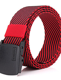Men's Alloy Outdoor Waist Belt Casual/Business Striped Nylon Canvas Belt Red/Brown/Army Green