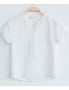 Gutt T-skjorte Ensfarget Trykt mønster Bomull Sommer Kortermet Normal