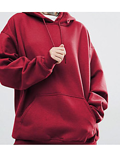 Damen Kapuzenshirt Alltag Cool Solide Reine Farbe Fleece-Futter strenchy Baumwolle Modal Lange Ärmel Herbst Winter