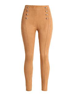 Dames Sexy Eenvoudig Hoge taille Slank Skinny Micro-elastisch Skinny Chinos (zwaar katoen) Broek Effen