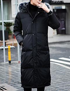 コート ダウン メンズ,カジュアル/普段着 ソリッド ポリエステル ホワイトダックダウン-シンプル 長袖
