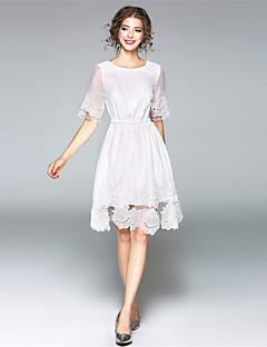 Damen A-Linie Kleid-Lässig/Alltäglich Einfach Solide Rundhalsausschnitt Midi Halbe Ärmel Polyester Herbst Hohe Hüfthöhe Mikro-elastisch