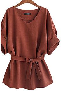 Tee-shirt Femme,Couleur Pleine Décontracté / Quotidien simple Eté Manches Courtes Col en V Lin Translucide