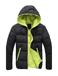 コート レギュラー パッド入り メンズ,お出かけ カジュアル/普段着 ソリッド カラーブロック コットン ポリエステル-シンプル 長袖