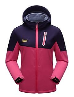 Mulheres A Prova de Vento Vestível Respirabilidade Esticar Zíper Visível de Comprimento Tota Jaquetas em Velocino / Lã Jaquetas Softshell