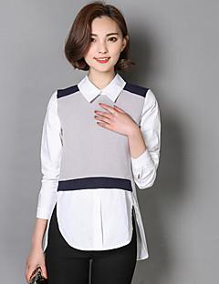 Damen Einfarbig Einfach Lässig/Alltäglich Hemd,Hemdkragen Langarm Baumwolle