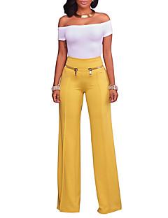 レディース ビンテージ シンプル ストリートファッション ハイライズ ワイドレッグ マイクロエラスティック ワイドレッグ パンツ ソリッド