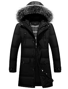 コート ダウン メンズ,プラスサイズ ソリッド その他 ホワイトダックダウン-シンプル 長袖