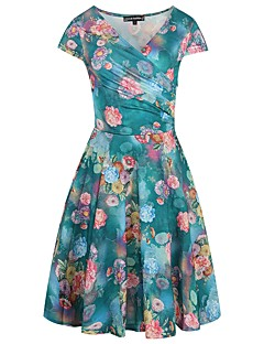 Women's Party Going out Casual/Daily Sexy Vintage Street chic Sheath Swing Dress,Floral V Neck Knee-length Short Sleeves PolyesterSummer